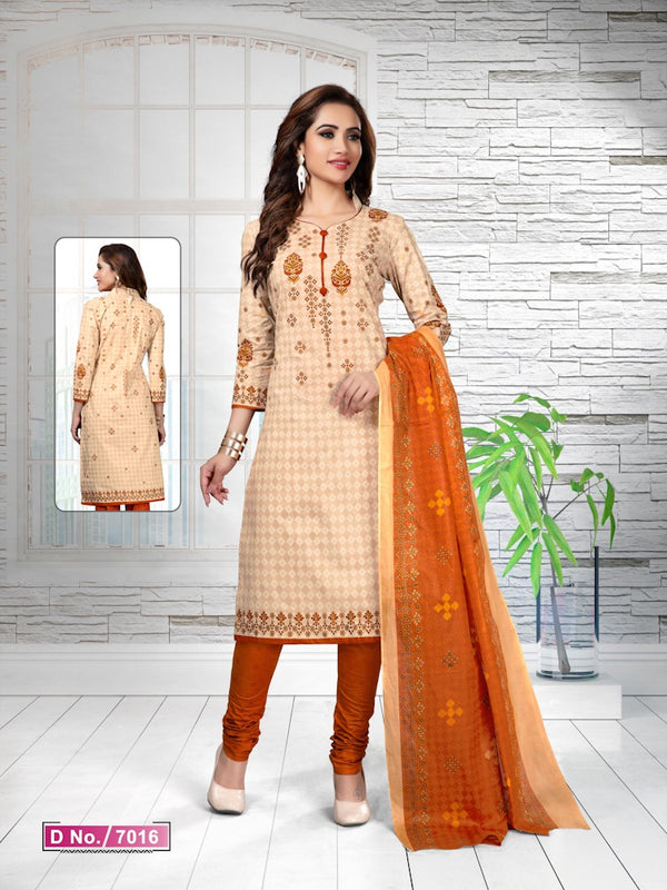 91bc6b8e25 Energetic Cream And Orange Cotton Heavy Material Salwar Suit