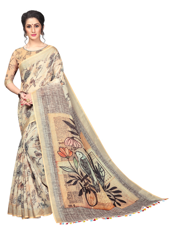Captivating Biege colored Party Wear Printed Pure Linen Saree