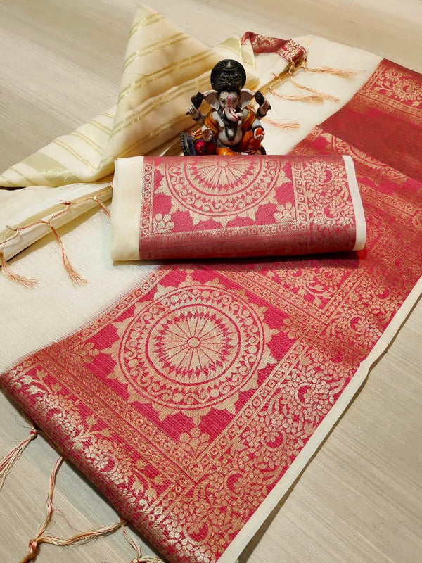 Pleasant  Cream And Red Colored Festive Cotta Dorya Saree