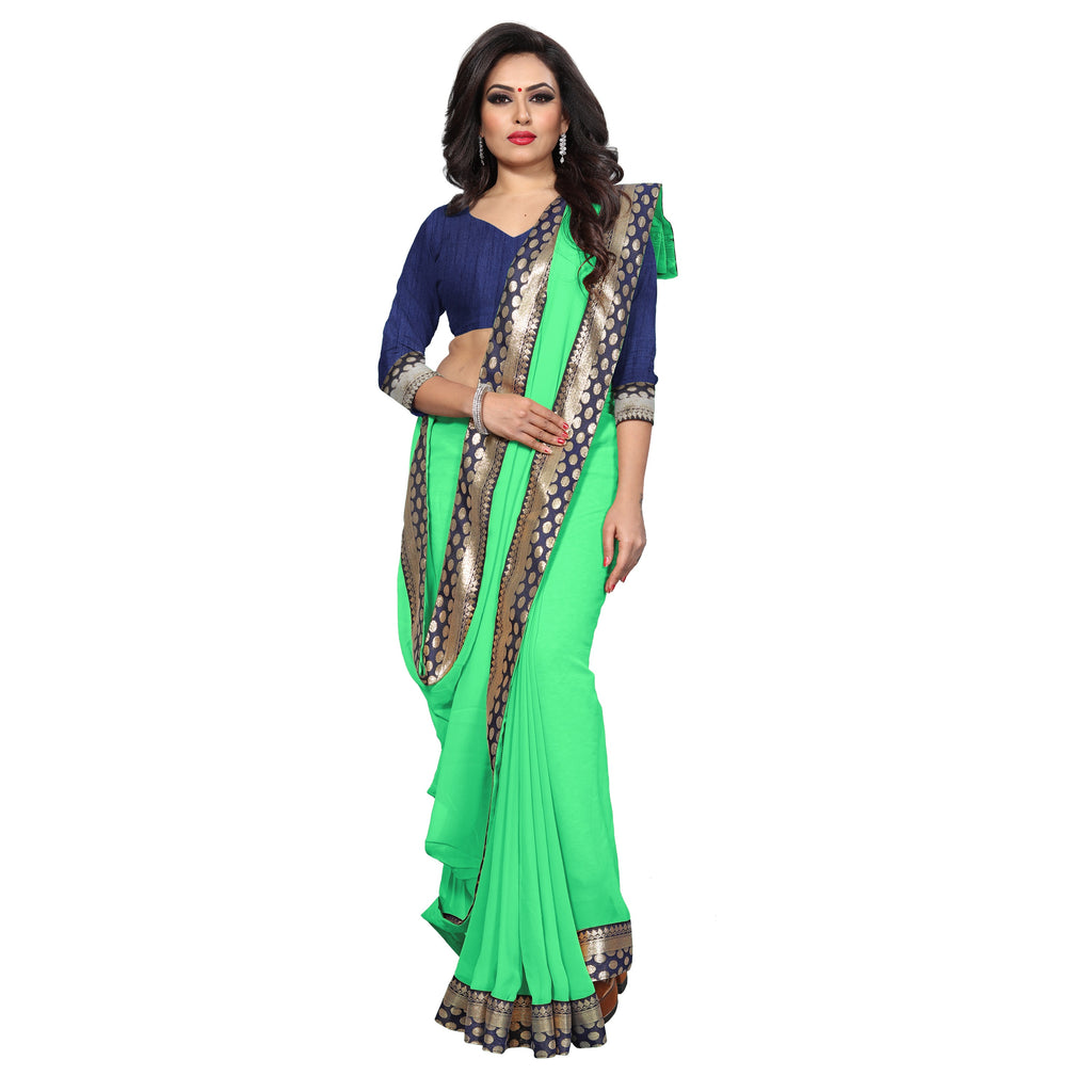 Blissful Pista Georgette Silk With Embroidery Less Border Designer Saree