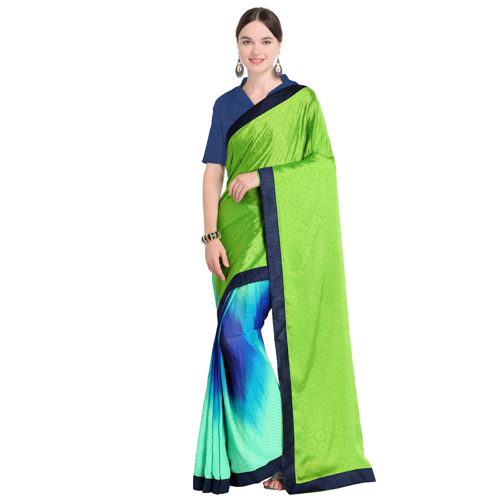 Magnetic  Green And Blue Georgette Printed Half-Half Saree