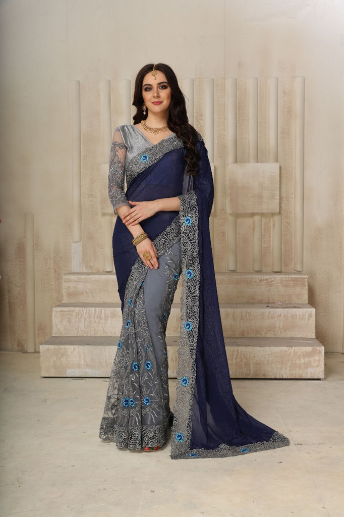 Mesmerising Grey And Blue Malai silk Designer Multi Embroidered Party wear Saree