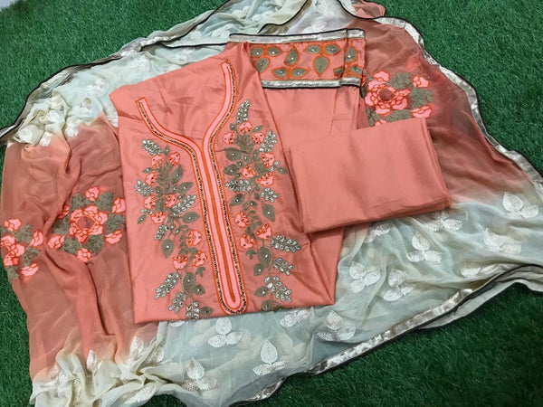 0b76f04c98 Staring Peach and Off White Embroidery work Salwar suit
