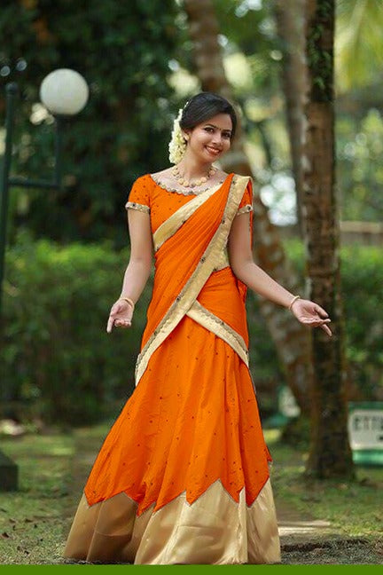 Classy  Color Orange Tapeta Silk Fancy Lehnga