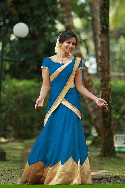 Adorable Color Sky Blue Tapeta Silk Fancy Lehnga