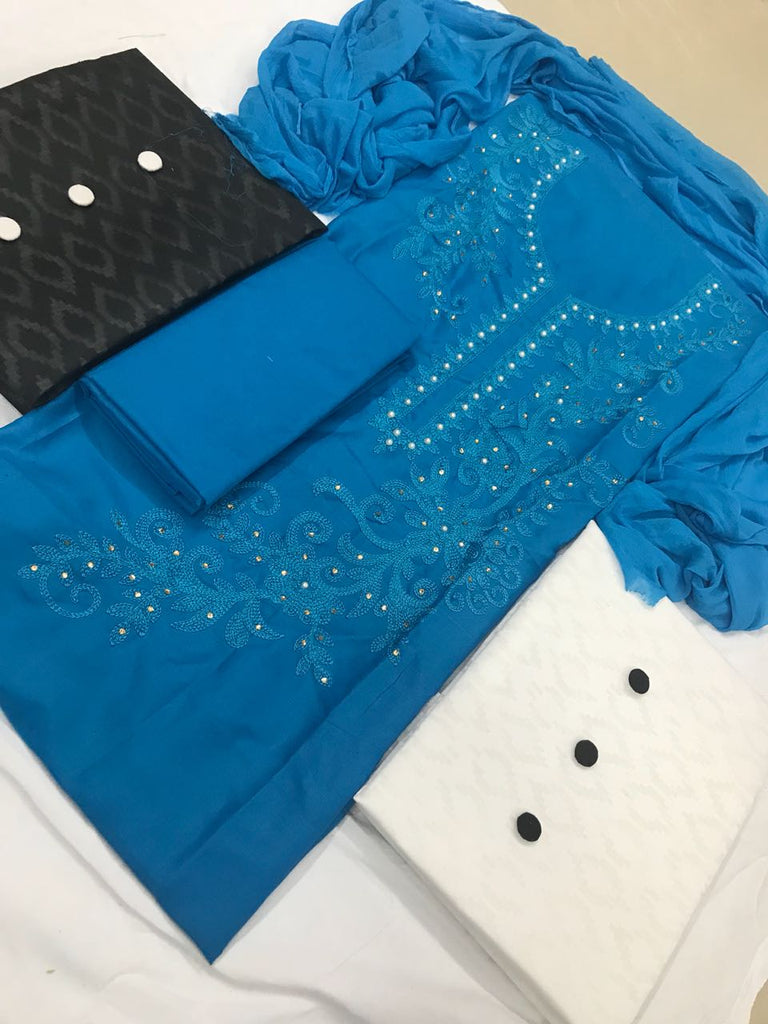 Classy  Color  Blue Cotton With Embroidery Work   Fancy salwar suit