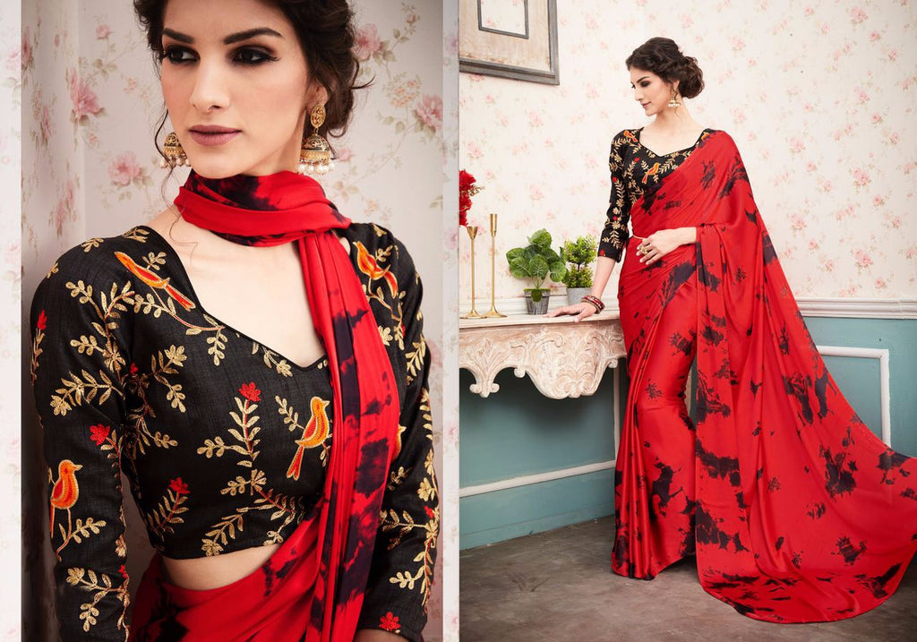 Charming Color Red  Rangoli Satin Georgette  Print Fancy Saree