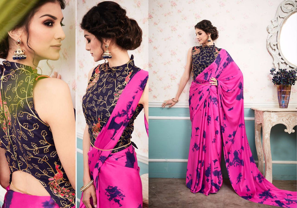 Energetic Color Pink  Rangoli Satin Georgette  Print Fancy Saree