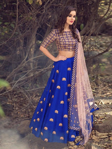 Dazzling Color Blue  Banglori Silk With Emboidery Work Designer  Lehnga