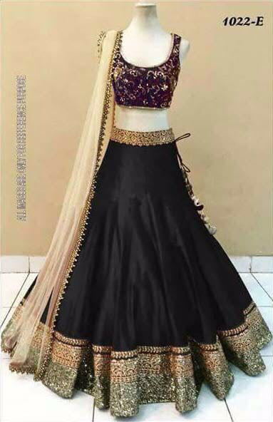 Pleasant Black Raw Silk Lehenga Choli