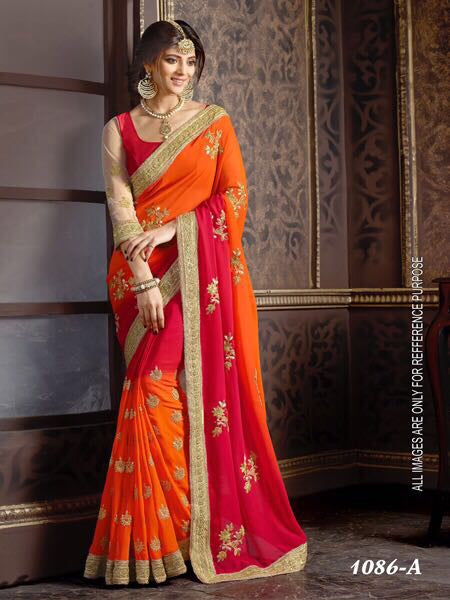 Pleasant Orange Color Georgette with Embroidery Work Fancy  saree
