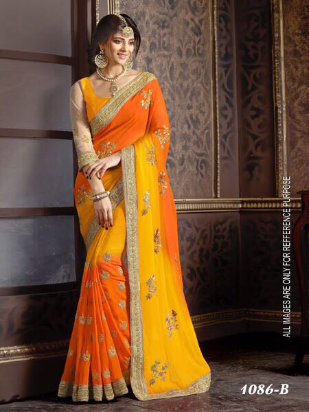 Flaunt Yellow  Color Georgette with Embroidery Work Fancy  saree