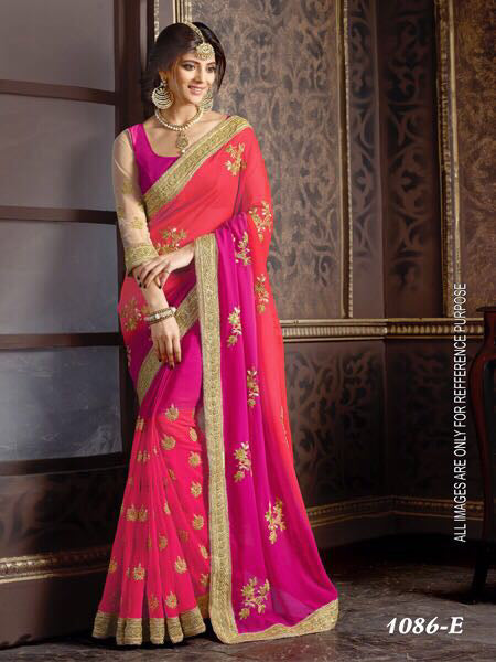 Exceptional Pink Color Georgette with Embroidery Work Fancy  saree