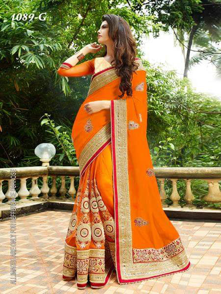 Ethnic Orange Color  Georgette Designer Fancy Saree saree