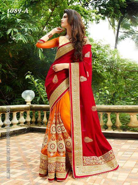 Sensational Red Color  Georgette Designer Fancy Saree saree