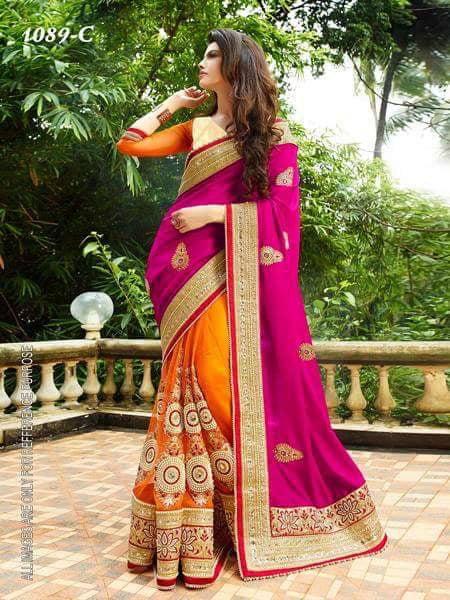 Amazing Pink Color  Georgette Designer Fancy Saree saree