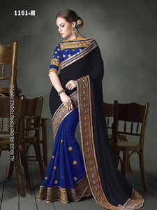 Delightful Glorious  Color Black Georgette Fancy Saree