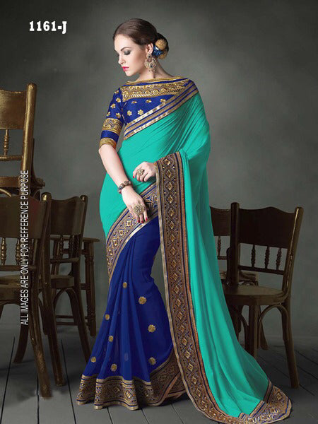 Spectacular C.Green  Georgette Fancy Saree