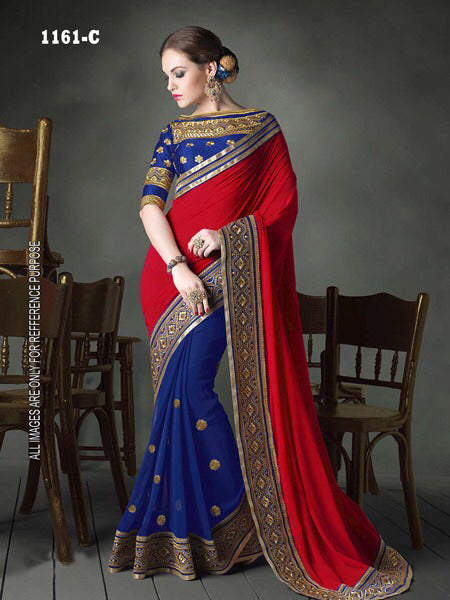 Unique Color Red Georgette Fancy Saree