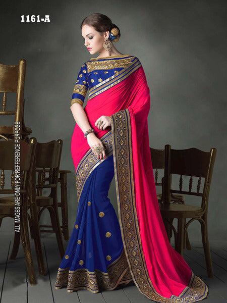 Desirable Color Rani Georgette Fancy Saree