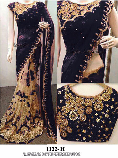 Classical  Color Black  Georgette Embroidery Work Fancy Saree
