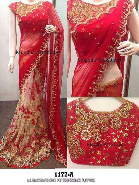 Stunning Color Red  Georgette  Embroidery Fancy Saree