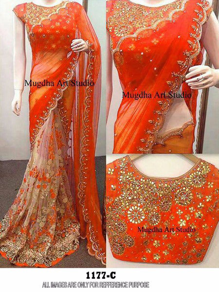 Trendy Color Orange  Georgette  Embroidery Fancy Saree