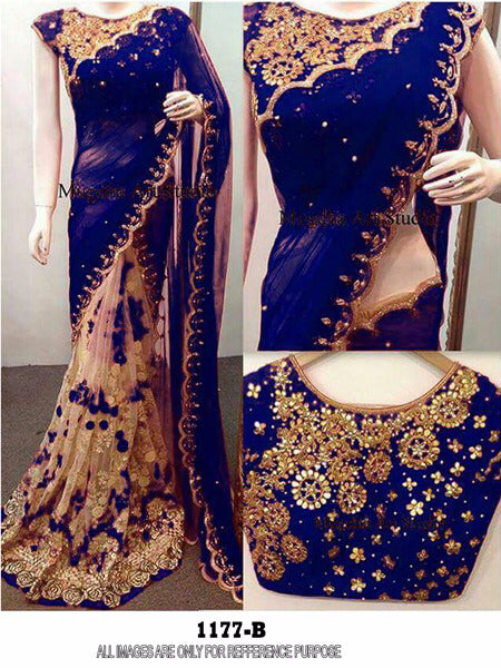 Precious Color Neavy Blue  Georgette  Embroidery Fancy Saree