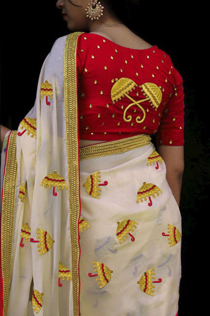 Spectacular Red  Chanderi Silk Fancy Saree