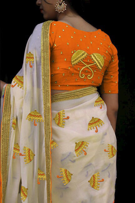 Impressive Color Orange  Chanderi Silk Fancy Saree