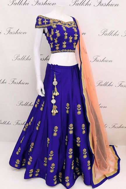 Spectacular Color Blue Tapeta Silk Designer Lehnga