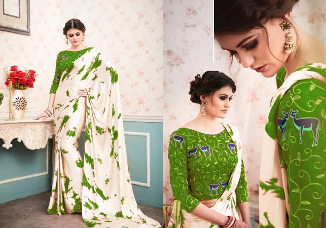 Sophisticated Color Of White  Rangoli Satin Georgette  Print Fancy Saree