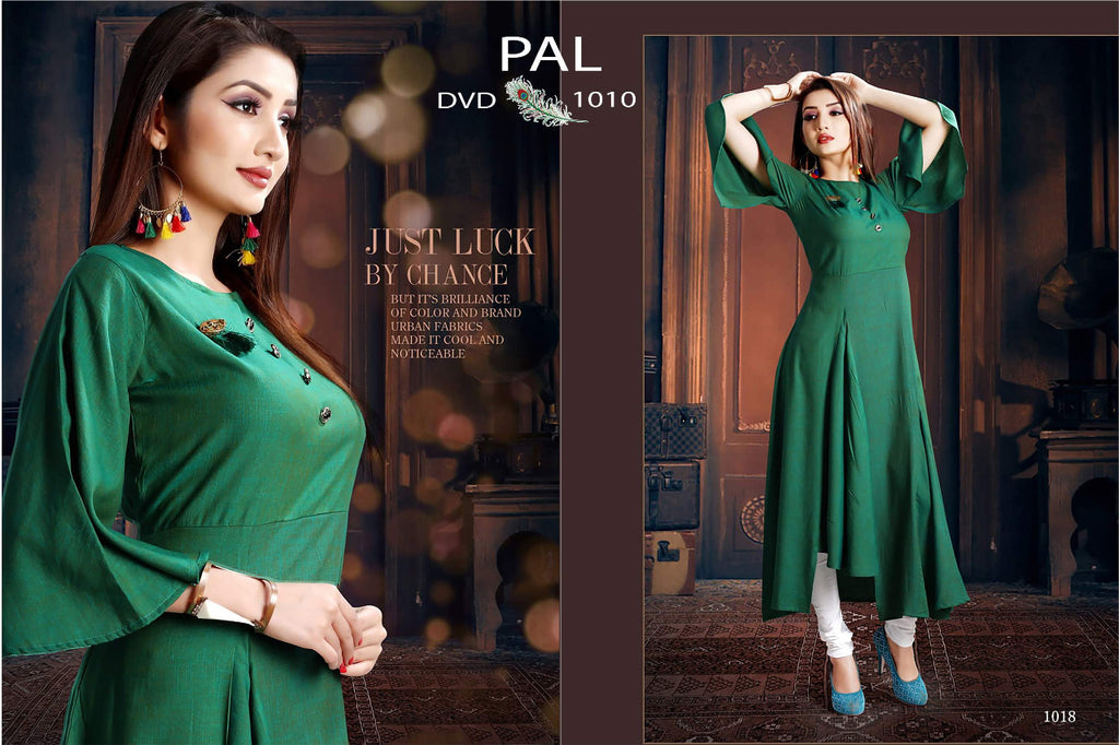 Magnetic  Color C.Green Hevy To Tone Reyon Designer  Kurti