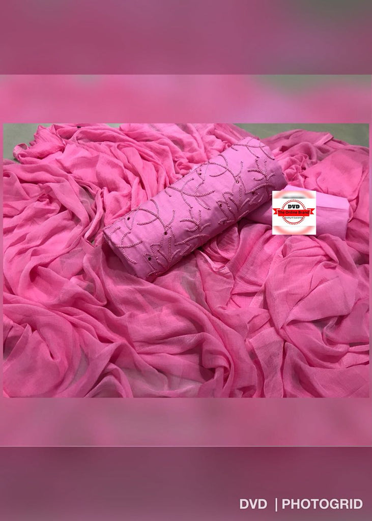 Magnetic  Color Pink  Cotton With Embroidery Work   Fancy  salwar suit