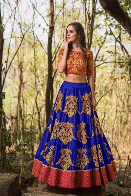Radiant Color Blue  Tapeta Silk  With   Embroidery Work  Designer Lehnga