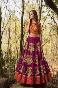 Prominent Color Purple  Tapeta Silk  With   Embroidery Work  Designer Lehnga