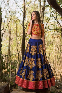 Flawless Color Navy Blue  Tapeta Silk  With   Embroidery Work  Designer Lehnga