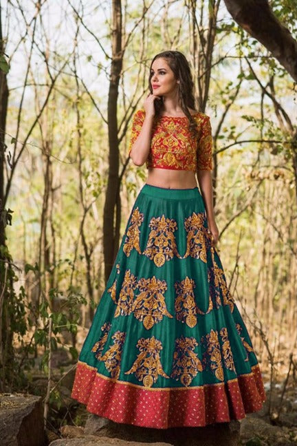 Pleasant Color C.Green Tapeta Silk  With   Embroidery Work  Designer Lehnga