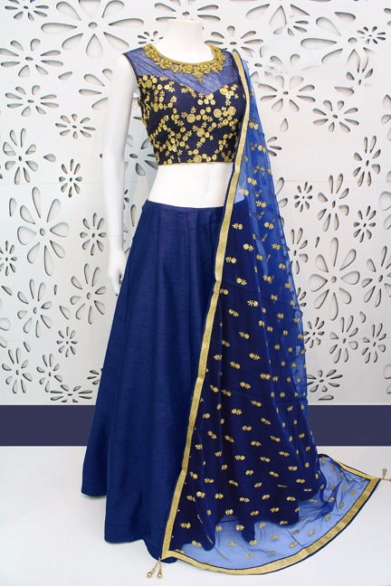 Captivating  Color Navy Blue Banglori Silk With Emboidery Work Designer  Lehnga