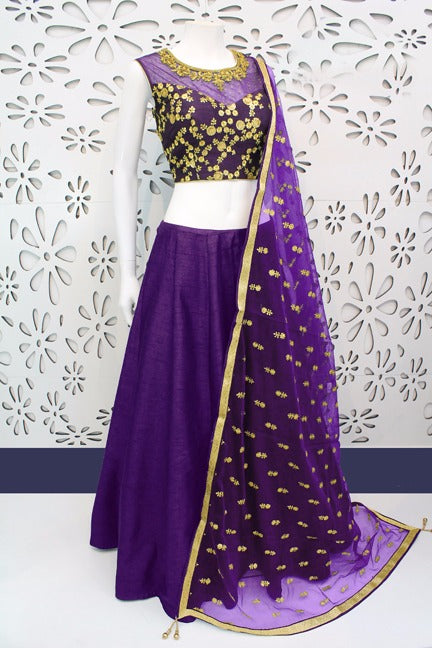 Radiant Color Purple  Banglori Silk With Emboidery Work Designer  Lehnga