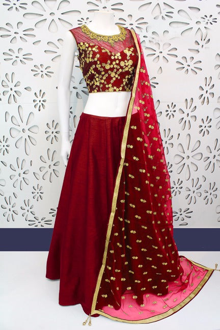 Stunning Color Maroon  Banglori Silk With Emboidery Work Designer  Lehnga