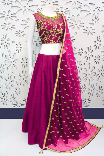 Dazzling  Color Pink  Banglori Silk With Emboidery Work Designer  Lehnga