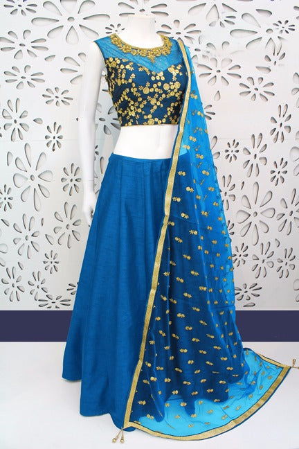 Starring Color Sky Blue  Banglori Silk With Emboidery Work Designer  Lehnga