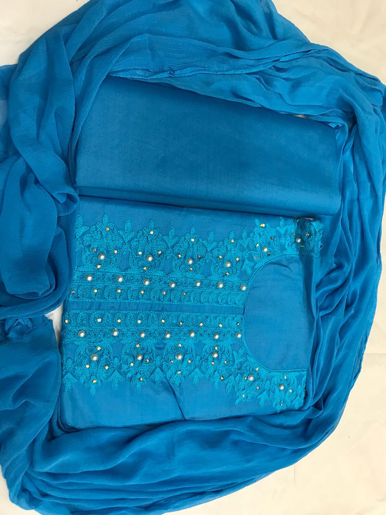 Intricate Color Sky Blue Cotton With  Embroidery  Work  salwar suit