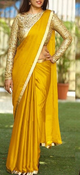 Pleasant Color Yellow Sanna Silk Fancy Saree