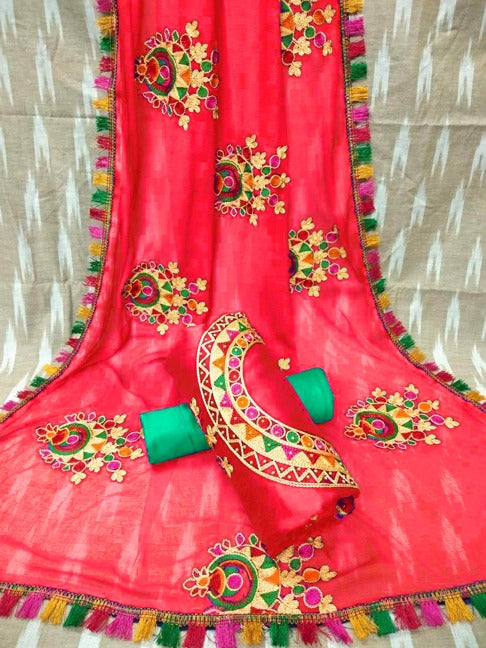 Exotic Color Red cotton indo fancy salwar suit