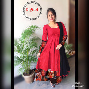 Magnetic  Color Red tapeta silk fancy dress