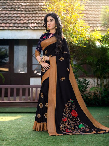 Magnetic  Color Black Khadi Silk  Fancy Saree