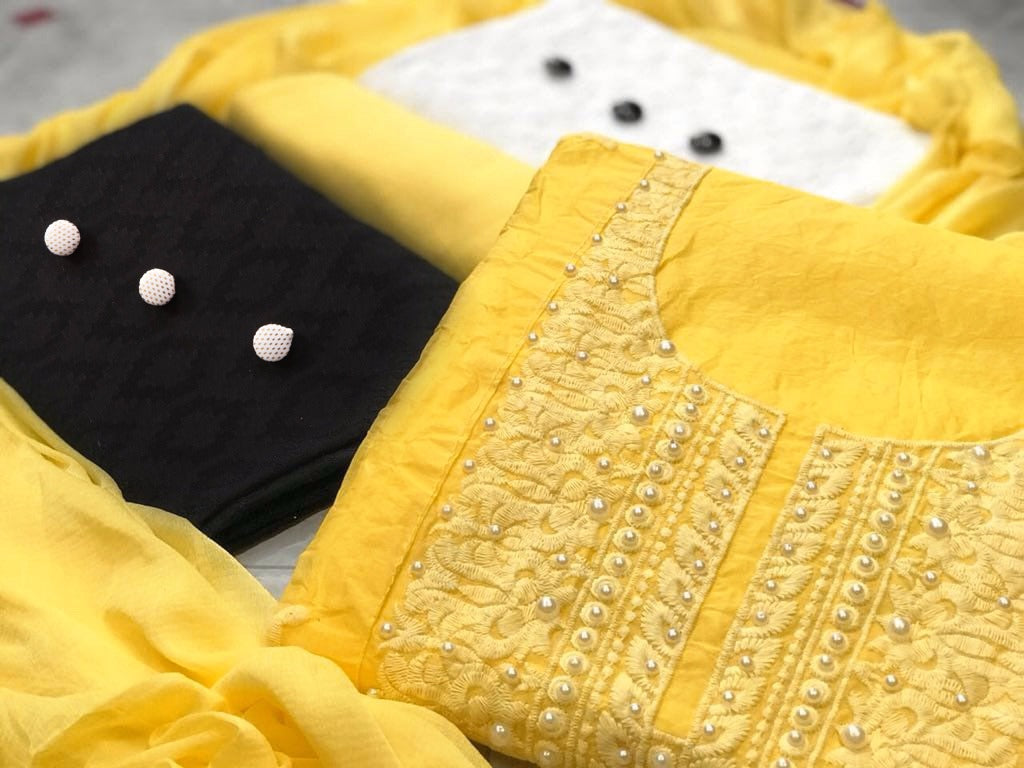 Special Color Yellow  Cotton With Embroidery Work  3 Combo  Fancy salwar suit