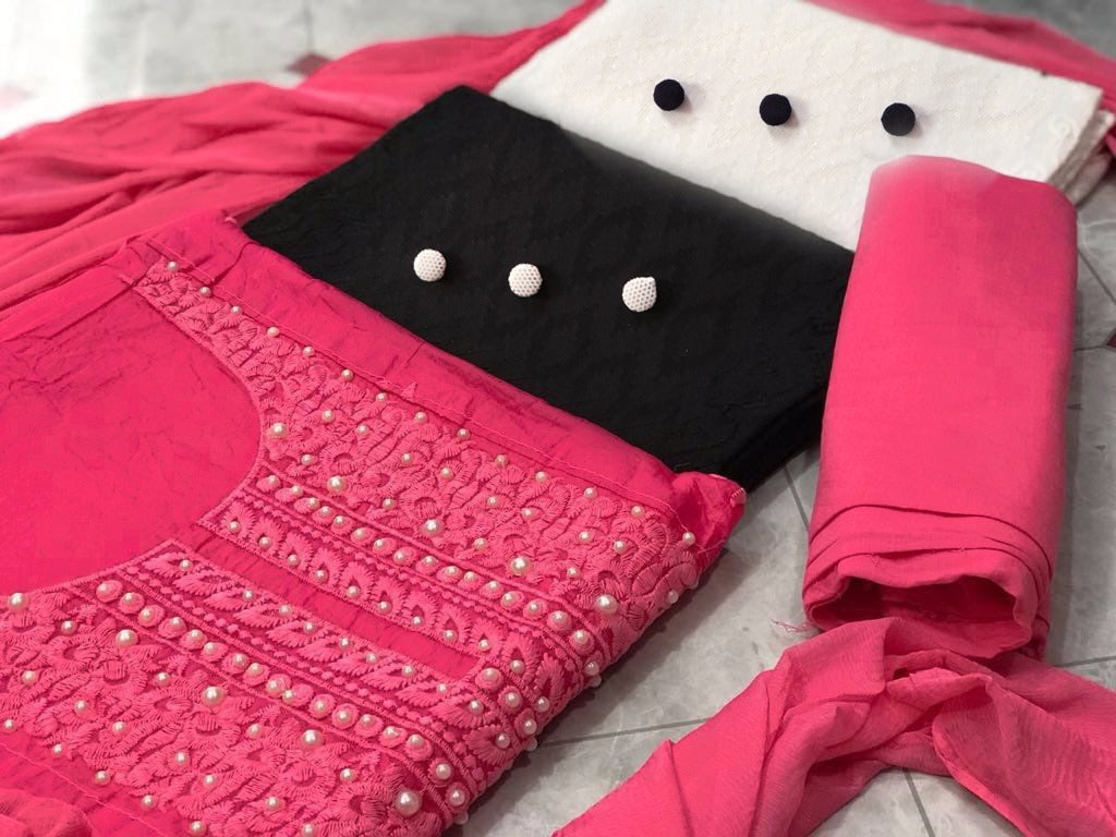 Adorable Color  Pink Cotton With Embroidery Work  3 Combo  Fancy salwar suit